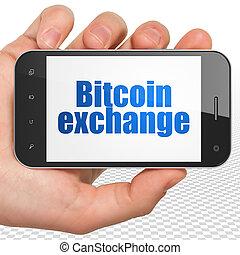 blockchain, concept:, passe segurar, smartphone, com, bitcoin, câmbio, exposição