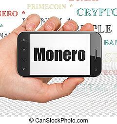 blockchain, concept:, passe segurar, smartphone, com, monero, exposição