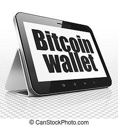 blockchain, concept:, tabuleta, computador, com, bitcoin, carteira, exposição