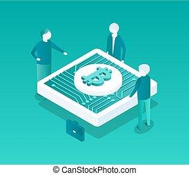 Blockchain Conference Icon Vector Illustration
