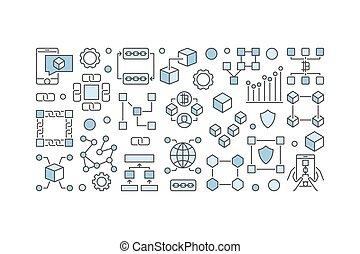 Blockchain creative banner - vector block-chain technology...
