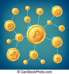 Blockchain, cryptocurrency and bitcoin decentralization anonymous internet transaction vector concept