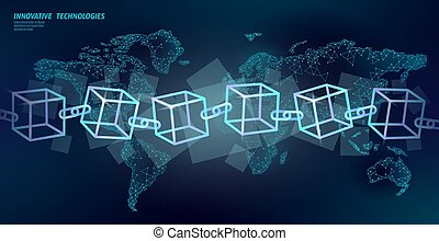 Blockchain cube chain symbol square code. Big data international flow. Blue neon glowing planet Earth map. Cryptocurrency finance bitcoin business concept vector illustration template