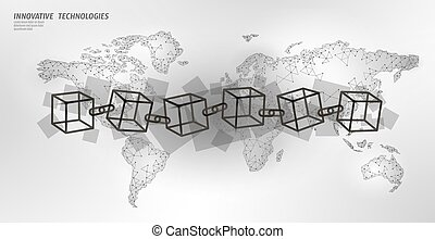 Blockchain cube chain symbol square code. Big data international flow. White planet Earth map. Cryptocurrency finance bitcoin business concept vector illustration template