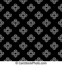 Blockchain cubes outline vector seamless pattern