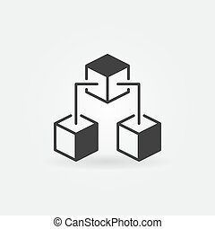 Blockchain cubes vector concept icon or symbol
