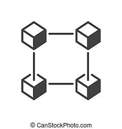 Blockchain cubes vector icon. Vector block chain sign