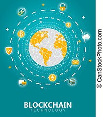 blockchain, digitális, tech, fogalom, vektor, ábra