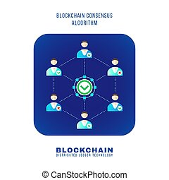blockchain distributed ledger technology illustration -...