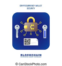 vector colorful flat design blockchain cryptocurrency wallet security principle scheme various types private public hardware keys QR illustration blue rounded square icon isolated white background