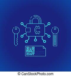 blockchain distributed ledger technology illustration -...
