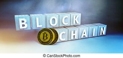 Blockchain encryption concept - Blockchain security computer...