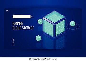 blockchain feature, security data cryptographic, info protection, technology cube, cloud database storage concept, dark violet