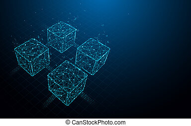 Blockchain form lines, triangles and particle style design. Illustration vector