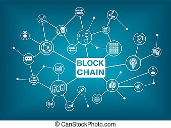 blockchain, glose, hos, iconerne, idet, vektor, illustration