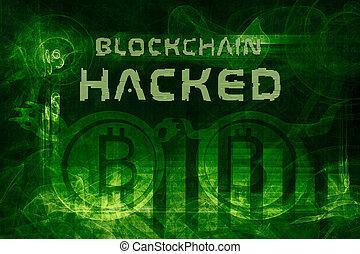 blockchain hacked abstract 3d illustration - blockchain...