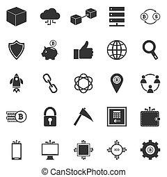 blockchain, icônes, fond blanc