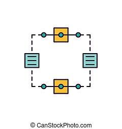 Blockchain icon, cartoon style