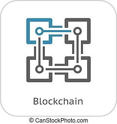 Blockchain Icon. Modern computer network technology sign. ...