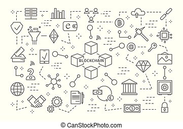 Blockchain icons set.
