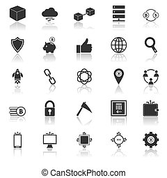 Blockchain icons with reflect on white background