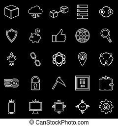 Blockchain line icons on black background