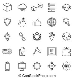 Blockchain line icons on white background