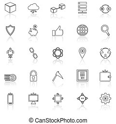 Blockchain line icons with reflect on white background