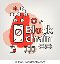Blockchain linear vector concept. Science, cryptocurrency...