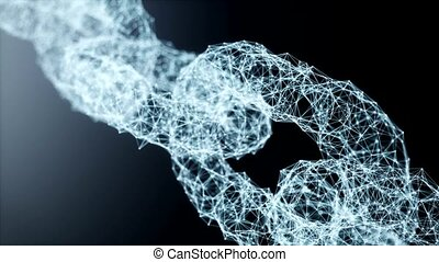 Blockchain link network technology concept. Block chain digital illuminated shape. Big data node base concept. Low poly design glowing 3d rendering full HD loopable looped animation