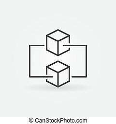 Blockchain minimal vector outline icon