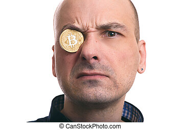 blockchain mining. Portrait of a man with bitcoin coin. ...