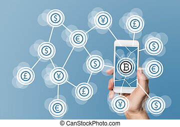 blockchain, mobile, fond, calculer, bitcoin, concept, technologie, bleu