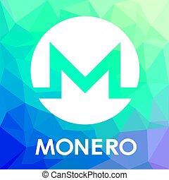 blockchain, monnaie, vecteur, logo, monero, cripto, xmr