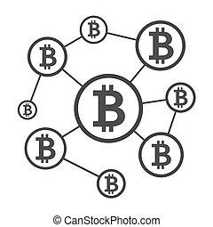 Blockchain network scheme. Nodes connected into chain. ...