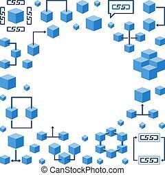 Blockchain round frame. Vector modern background