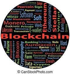 blockchain, szó, felhő, fogalom, képben látható, fekete,...