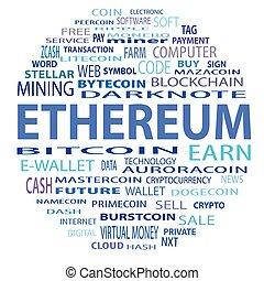 blockchain, szó, felhő, fogalom, white, háttér