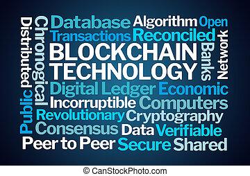 blockchain, technológia, szó, felhő