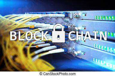 blockchain, technologie, concept, sur, serveur, arrière-plan., données, encryption.