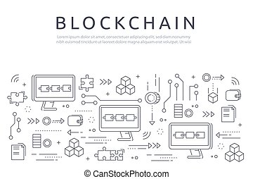 Blockchain technologie process abstract illustration in thin line style. Cryptocurrency vector concept.