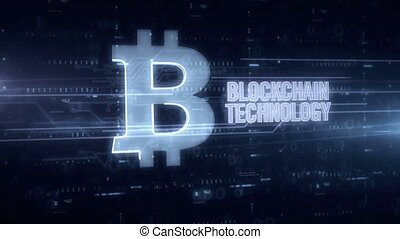 Blockchain technology and bitcoin symbol blue hologram 3d animation. Futuristic concept of crypto currency, online finance, digital payment and virtual money on digital background.