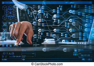 businessman using digital tablet and laptop computer and ...