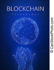 Blockchain technology futuristic hud banner with globe.