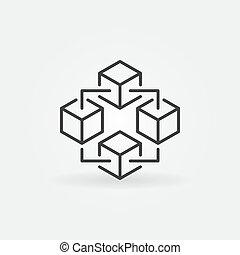 Blockchain technology icon. Vector block chain symbol -...