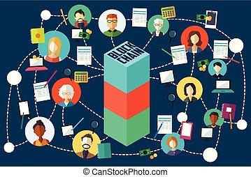 Blockchain Technology Illustration - A vector illustration...