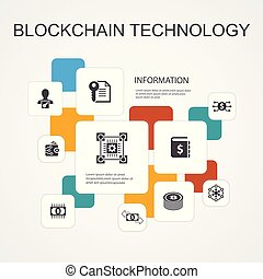 blockchain technology Infographic 10 line icons...