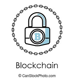 Blockchain technology isolated icon, cryptocurrency and web...
