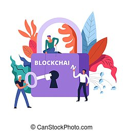 Blockchain technology lock and workers holding key vector....