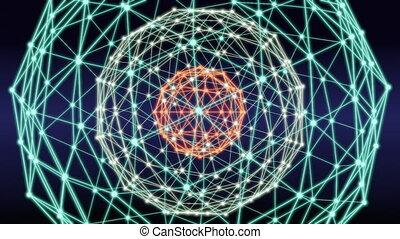 Blockchain technology network abstract loop animation